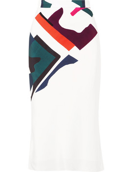 Expressionist Lia Printed Silk Satin Midi Skirt by Cushnie