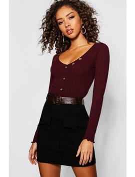 Button Detail Long Sleeve Rib Top by Boohoo