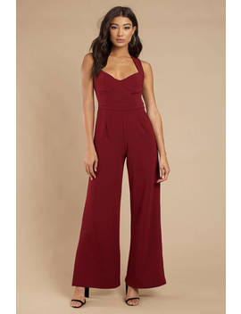 Yessenia Wine Split Hem Jumpsuit by Tobi