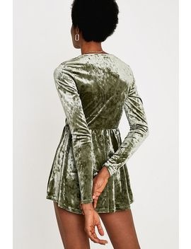 Uo Green Velvet Gianni Fit + Flare Playsuit by Urban Outfitters