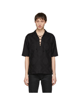 Black Jacquard Bandana Lace Up Shirt by Saint Laurent