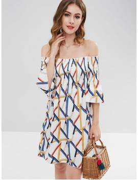 Printed Smocked Woven Off The Shoulder Dress   Multi S by Zaful