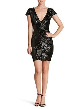 Zoe Plunge Sequin Velvet Bodycon Dress by Dress The Population
