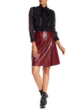 Pleated Snake Embossed Leather Skirt by Marc Jacobs