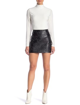 Houndstooth Genuine Lamb Leather Skirt by Helmut Lang