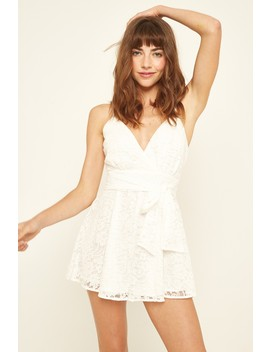 Luck & Trouble Lace Party Playsuit White by Universal Store