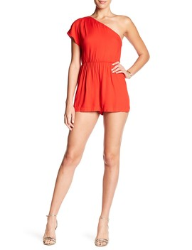 Draped One Shoulder Romper by Alice + Olivia