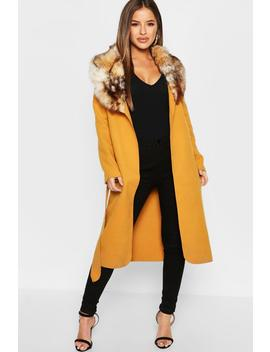 Petite Faux Fur Collar Belted Coat by Boohoo