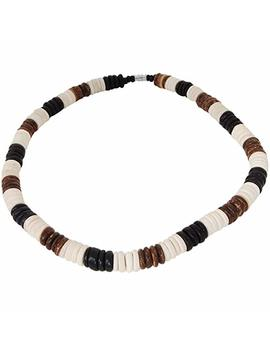 Kauai Tri Color Coconut Shell Discs Hawaiian Mens Bead Choker Necklace by Tribal Hollywood