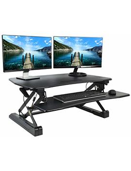 "Vivo Black Deluxe Height Adjustable Standing Desk 36"" Tabletop Monitor Sit To Stand Laptop Riser Removable Keyboard Tray Platform Converter (Desk V000 Db) by Vivo"