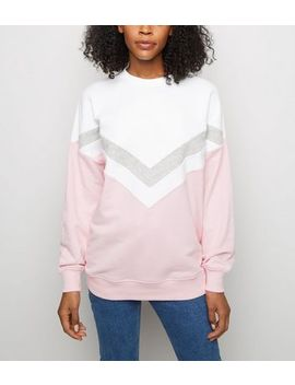 Pink Chevron Colour Block Sweatshirt by New Look