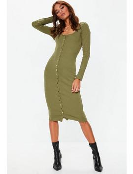 Khaki Ribbed Popper Bodycon Midi Dress by Missguided