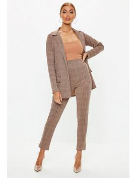 Brown Heritage Check Cigarette Trousers by Missguided