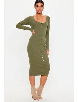 Tall Khaki Rib Long Sleeve Popper Midi Dress by Missguided