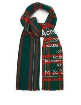 Cassiar Logo Print Check Wool Scarf by Acne Studios