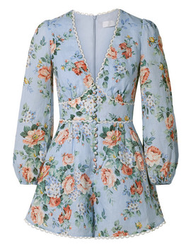 Bowie Crochet Trimmed Floral Print Linen Playsuit by Zimmermann