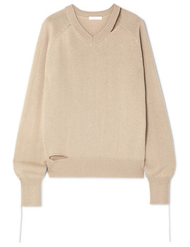 Distressed Cutout Cotton, Wool And Cashmere Blend Sweater by Helmut Lang