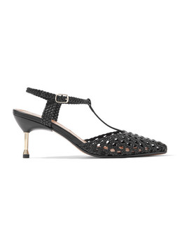 Sevilla Metal Trimmed Woven Leather Pumps by Souliers Martinez