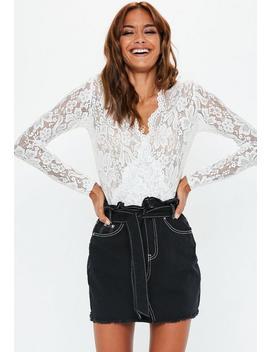 Black Contrast Stitch Paperbag Waist Denim Skirt by Missguided