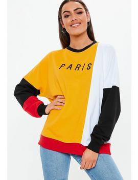 Mustard Colourblock Paris Slogan Sweatshirt by Missguided