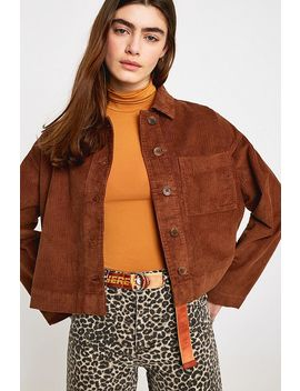 Uo Clark Brown Corduroy Button Through Shirt Jacket by Urban Outfitters