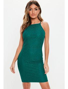 Teal Lace Square Neck Bodycon Mini Dress by Missguided