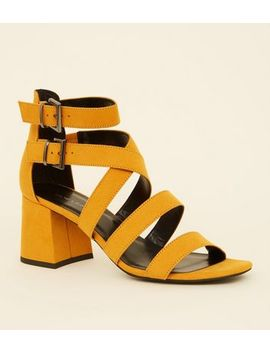 Mustard Suedette Strappy Mid Block Heels by New Look