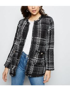 Bv Long Tweed Check Jacket by New Look