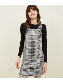 Black Mixed Houndstooth Check Pinafore Dress by New Look