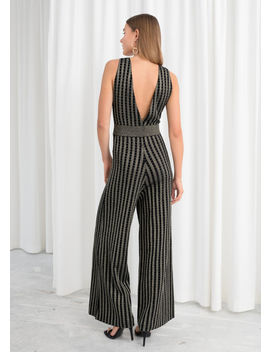 Plunging Glitter Stripe Jumpsuit by & Other Stories