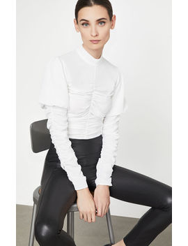 Ruched Mock Neck Top by Bcbgmaxazria