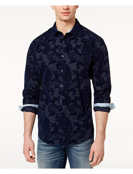 I.N.C. Men's Flocked Paisley Shirt, Created For Macy's by Inc International Concepts