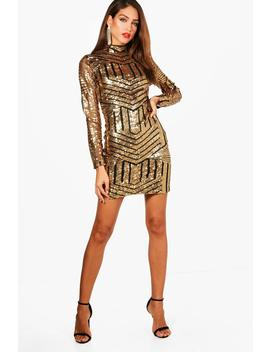 Tall Ava High Neck All Over Patterned Sequin Dress by Boohoo
