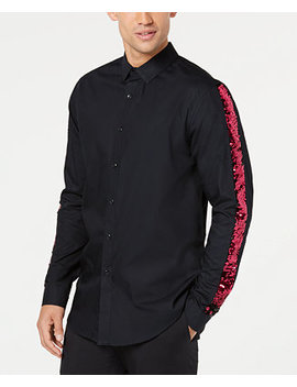 I.N.C. Men's Sequined Striped Sleeve Shirt, Created For Macy's by Inc International Concepts