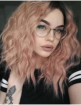 K'ryssma Short Bob Wavy Lace Front Wigs For White Women Orange Pink Ombre Dark Roots To Mixed Pink... by K'ryssma