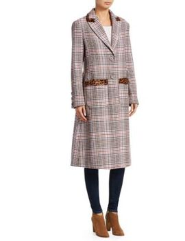 Leida Leoprard & Plaid Trench Coat by Tanya Taylor