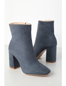 My Generation Blue Suede High Heel Mid Calf Boots by Lulu's