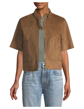 Lavzinnie Wilmore Short Sleeve Suede Jacket, Brown by Theory