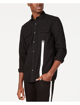 I.N.C. Men's Contrast Stripe Shirt, Created For Macy's by Inc International Concepts