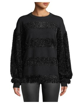 Shimmer Fringe Striped Sweater by Zac Posen