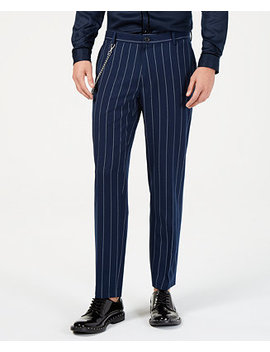 I.N.C. Men's Slim Fit Pinstriped Chain Pants, Created For Macy's by Inc International Concepts