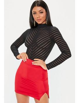 Black Long Sleeve High Neck Chevron Bodysuit by Missguided