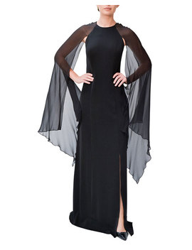 Crepe Slit Gown W/ Chiffon Sleeve Detail by Mikael Aghal