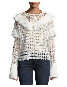 Ruffle Trimmed Medallion Crochet Blouse by Avantlook