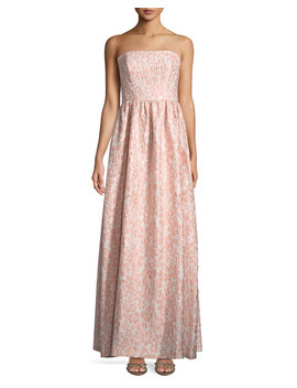 Lulu Strapless Floral Jacquard Gown by Shoshanna
