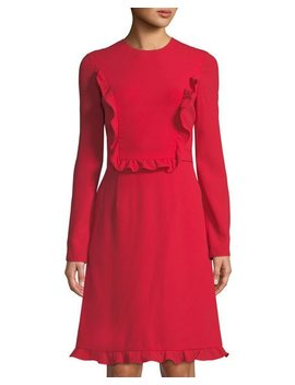 Long Sleeve Ruffle Dress by Mikael Aghal