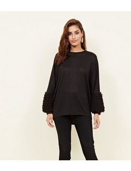 Black Fluffy Cuff Fine Knit Top by New Look