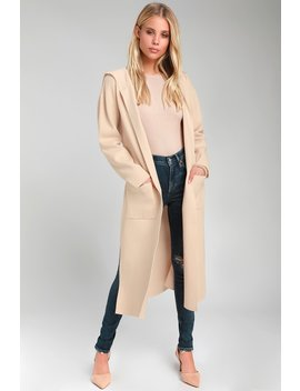 Timeless Touch Beige Hooded Longline Cardigan by Lulus