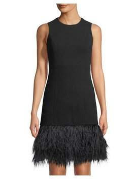 Sleeveless Feather Hem Cocktail Dress by Michael Kors Collection