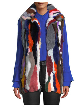Multicolored Rabbit Fur Vest by Love Token